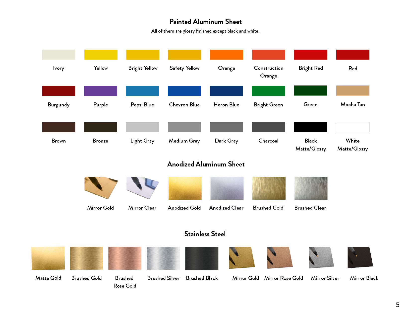 Color Chart_Aluminum-Stainless Steel